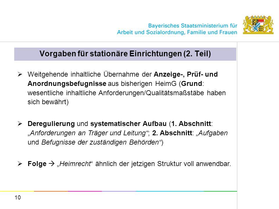 Vorgaben für stationäre Einrichtungen (2. Teil)