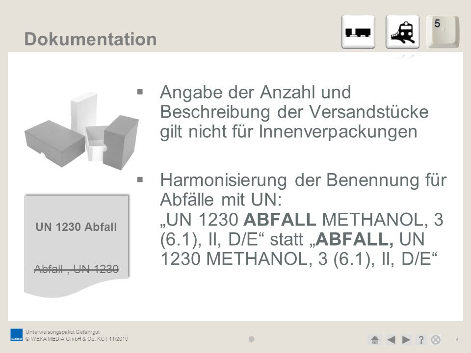27.03.2017 Dokumentation. Angabe der Anzahl und Beschreibung der Versandstücke gilt nicht für Innenverpackungen.