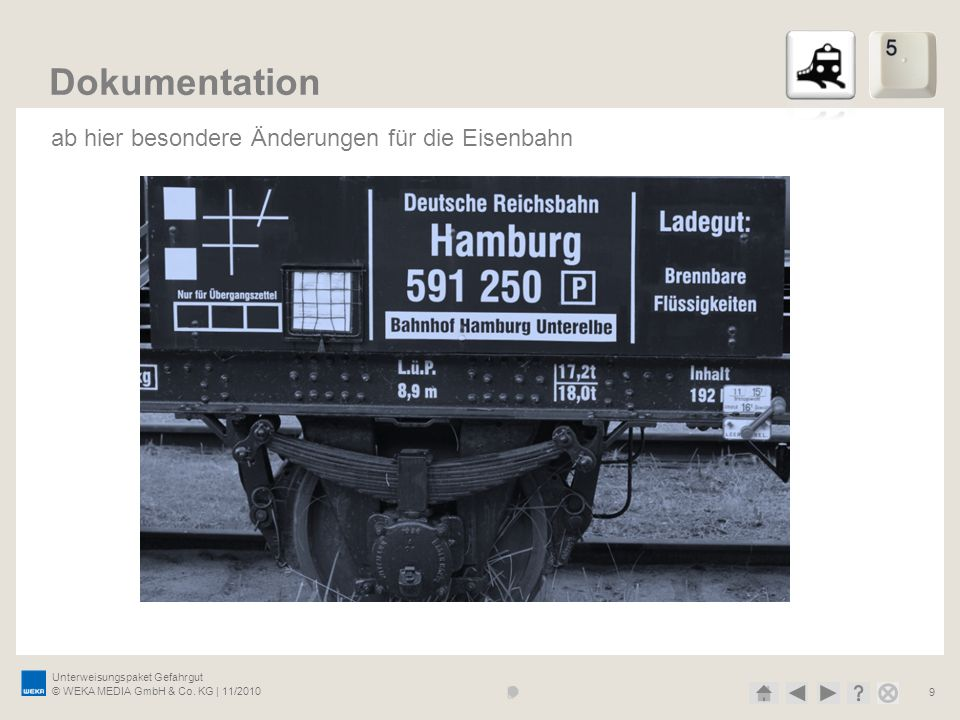Dokumentation ab hier besondere Änderungen für die Eisenbahn
