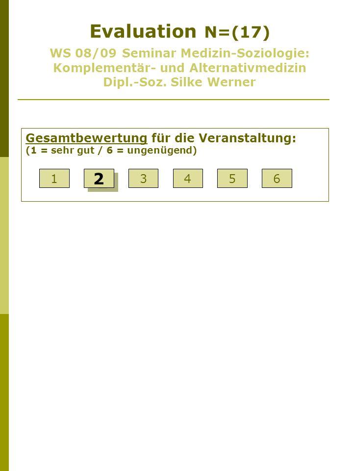 Evaluation N=(17) WS 08/09 Seminar Medizin-Soziologie: Komplementär- und Alternativmedizin Dipl.-Soz. Silke Werner