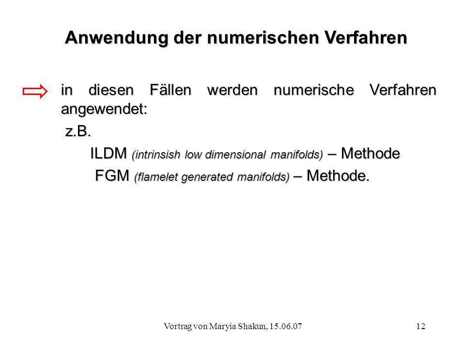 Anwendung der numerischen Verfahren