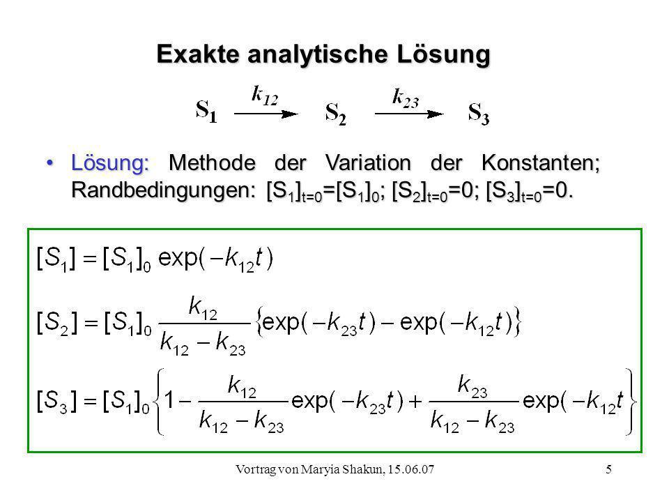 Exakte analytische Lösung