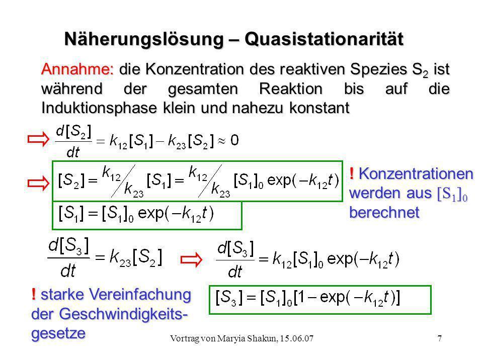 Näherungslösung – Quasistationarität