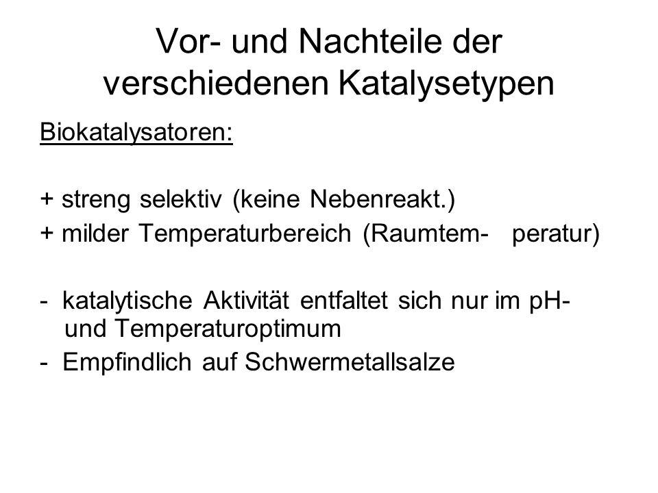 Vor- und Nachteile der verschiedenen Katalysetypen