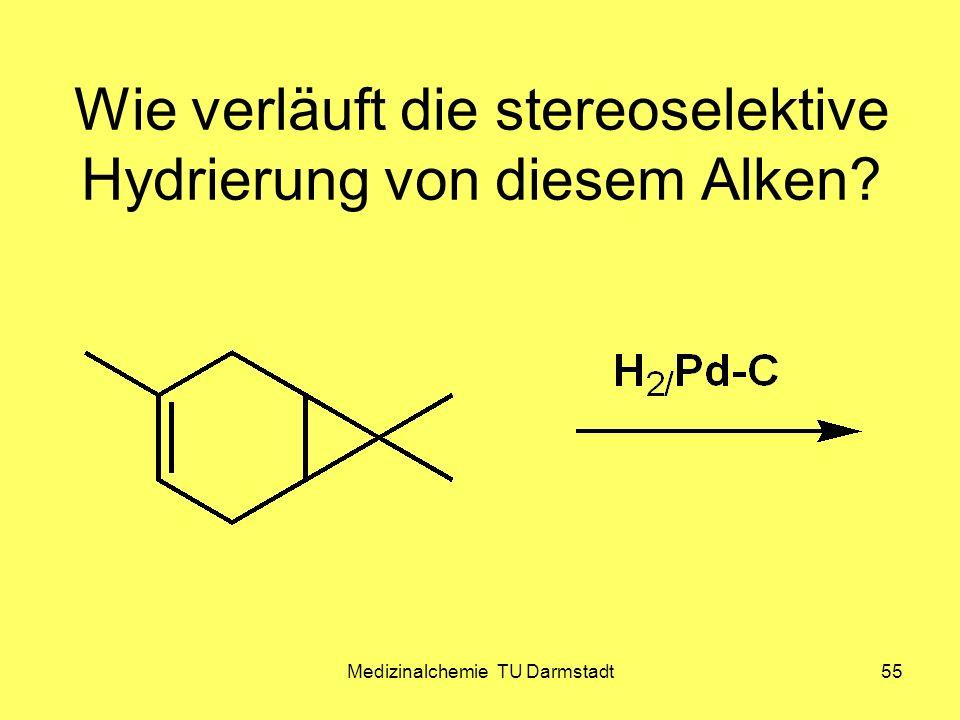 Wie verläuft die stereoselektive Hydrierung von diesem Alken