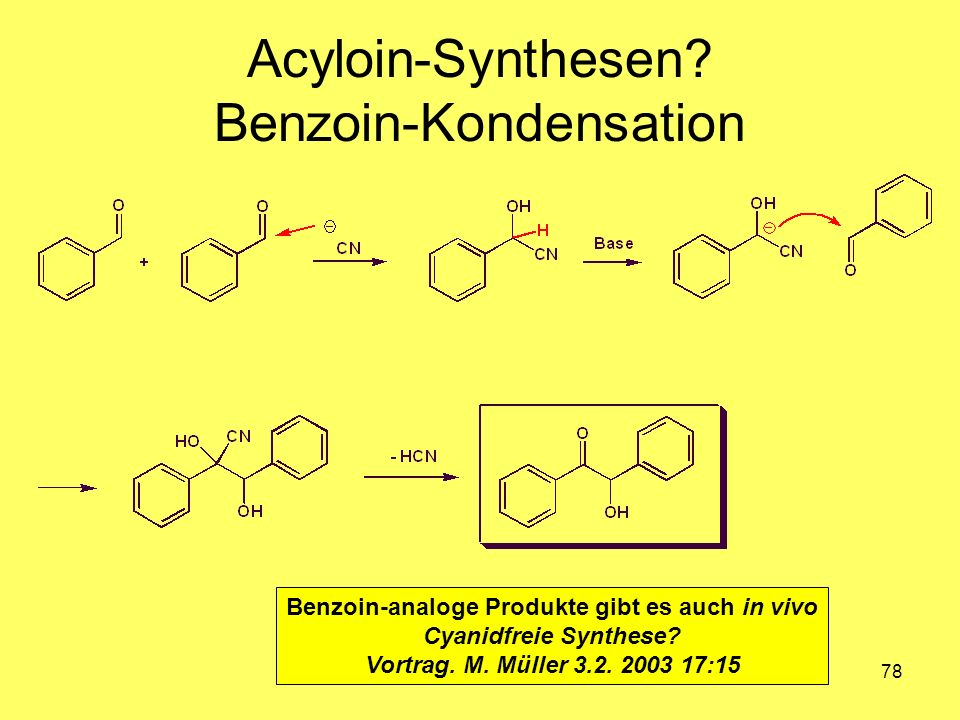 Acyloin-Synthesen Benzoin-Kondensation