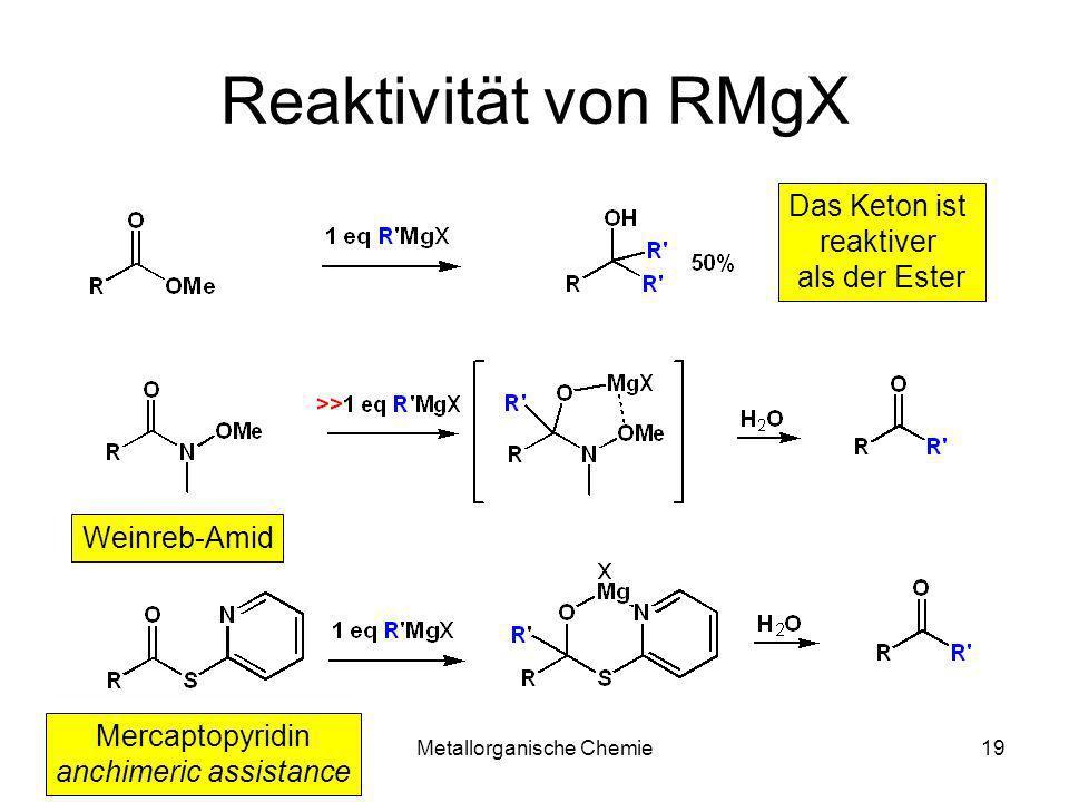 Reaktivität von RMgX Das Keton ist reaktiver als der Ester