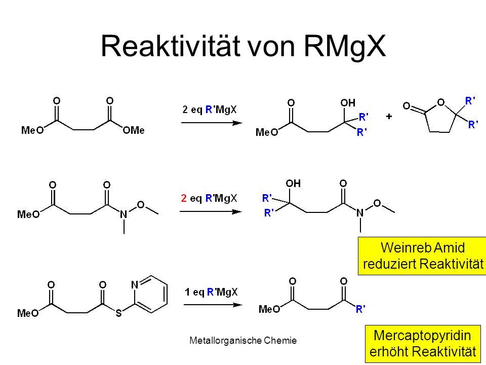 Reaktivität von RMgX Weinreb Amid reduziert Reaktivität