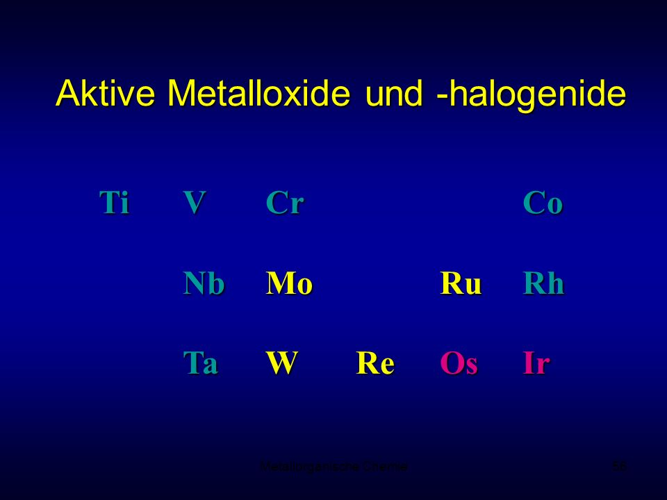 Aktive Metalloxide und -halogenide
