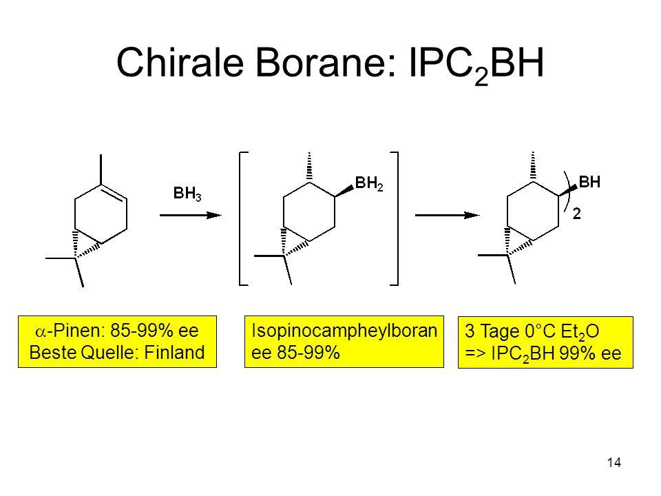 Chirale Borane: IPC2BH a-Pinen: 85-99% ee Beste Quelle: Finland