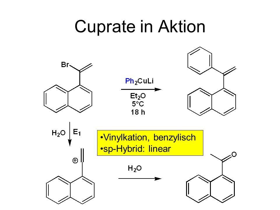 Cuprate in Aktion Vinylkation, benzylisch sp-Hybrid: linear