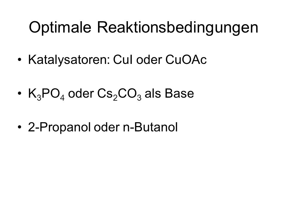 Optimale Reaktionsbedingungen