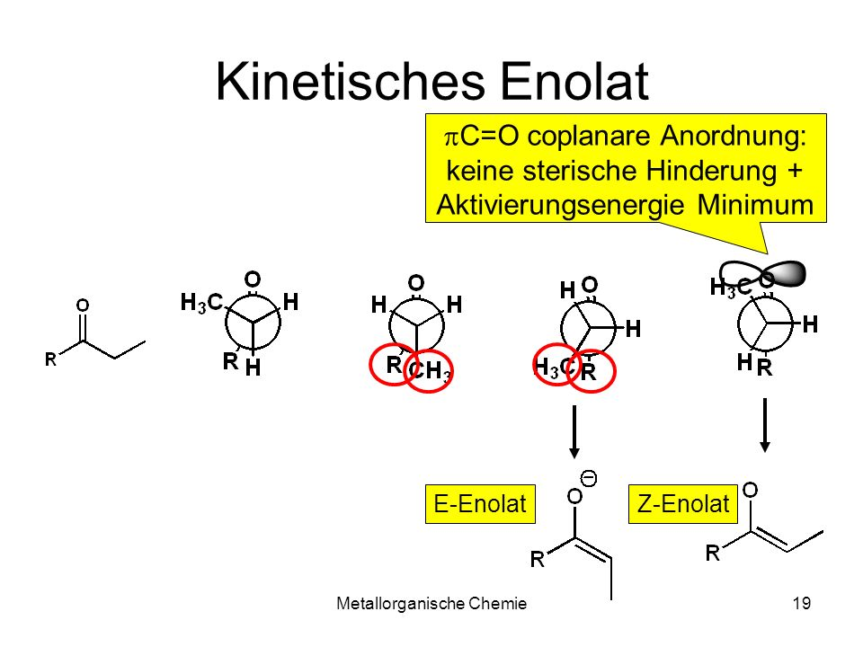 Kinetisches Enolat pC=O coplanare Anordnung:
