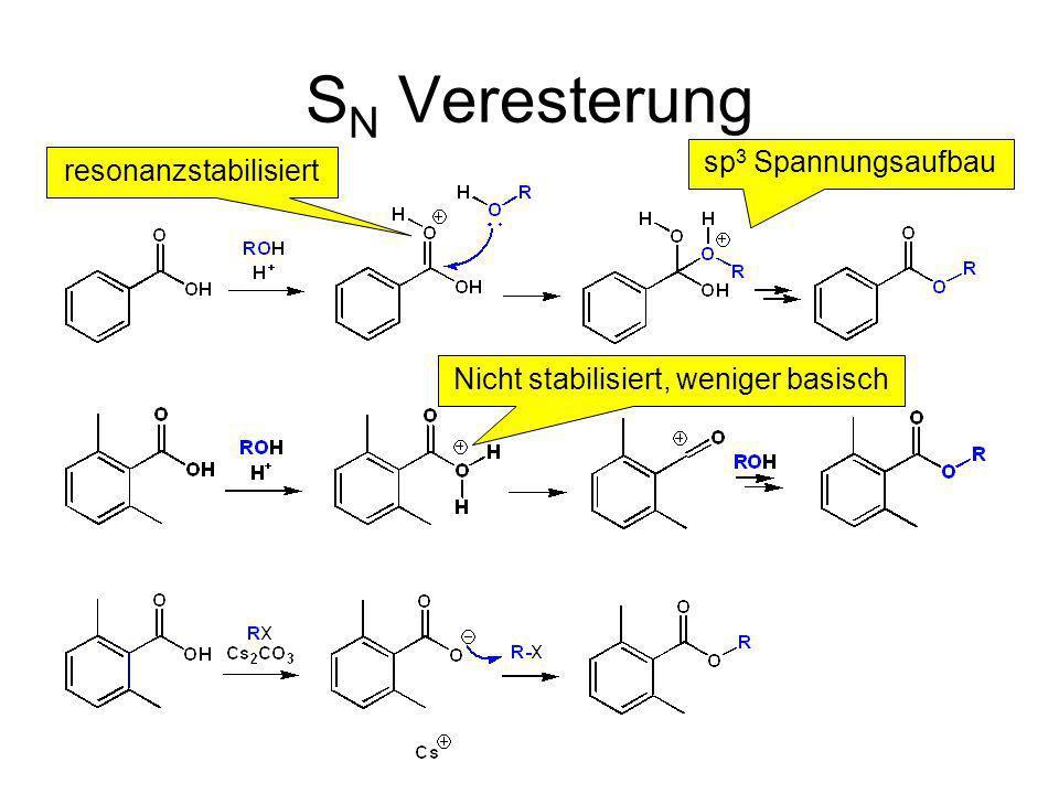 SN Veresterung sp3 Spannungsaufbau resonanzstabilisiert