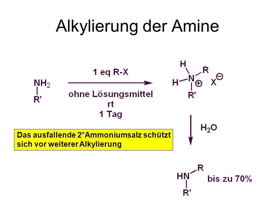 Alkylierung der Amine Das ausfallende 2°Ammoniumsalz schützt