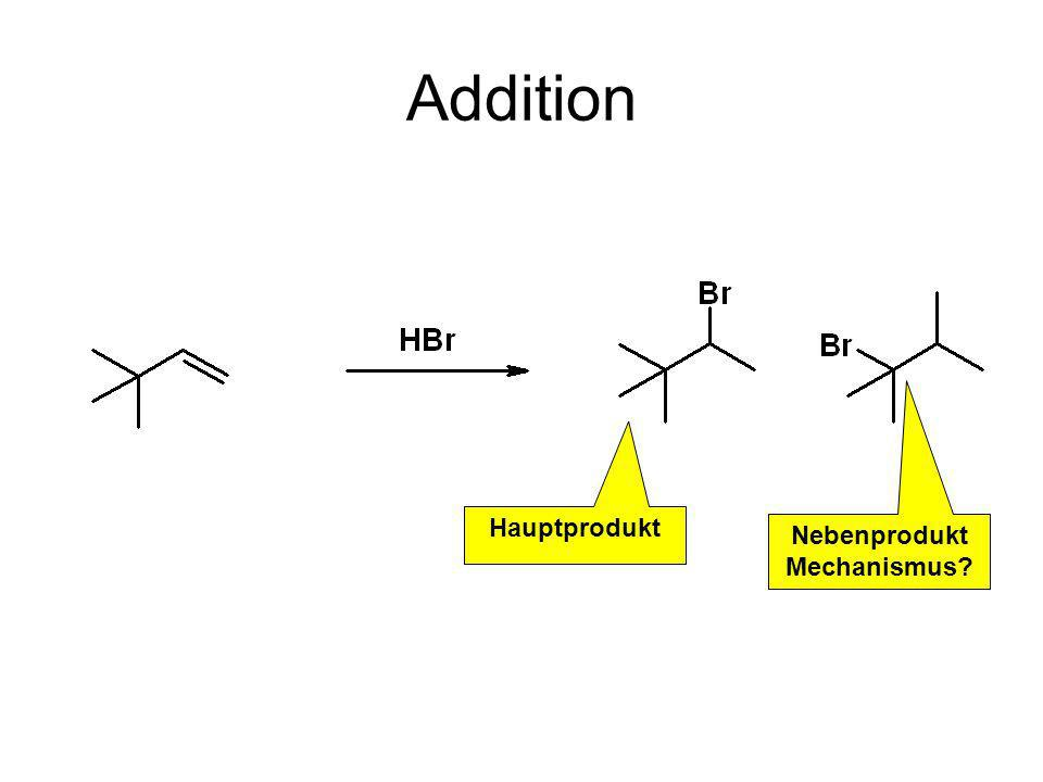 Addition Hauptprodukt Nebenprodukt Mechanismus