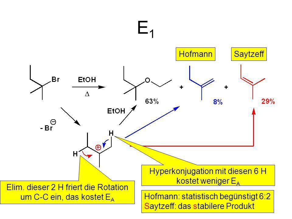E1 Hofmann Saytzeff Hyperkonjugation mit diesen 6 H kostet weniger EA