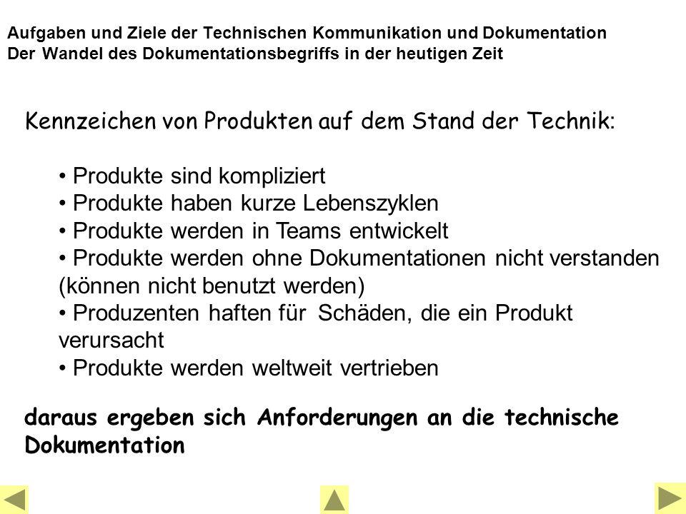 Kennzeichen von Produkten auf dem Stand der Technik: