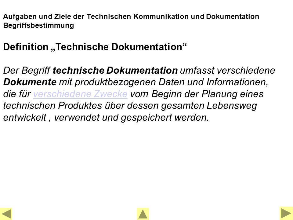 """Definition """"Technische Dokumentation"""