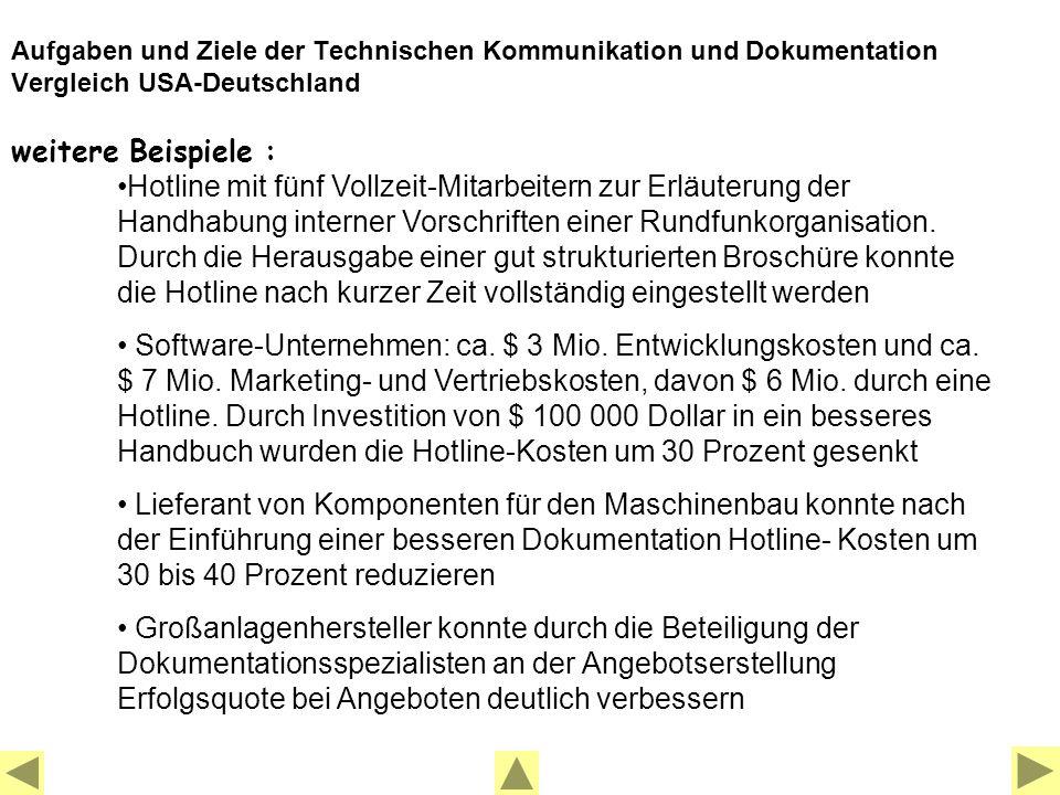 Aufgaben und Ziele der Technischen Kommunikation und Dokumentation Vergleich USA-Deutschland