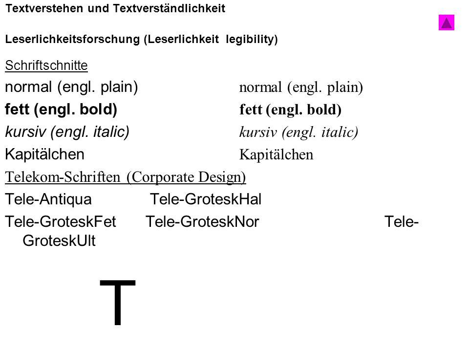 T normal (engl. plain) normal (engl. plain)