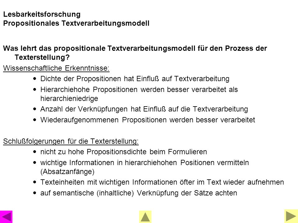 Lesbarkeitsforschung Propositionales Textverarbeitungsmodell