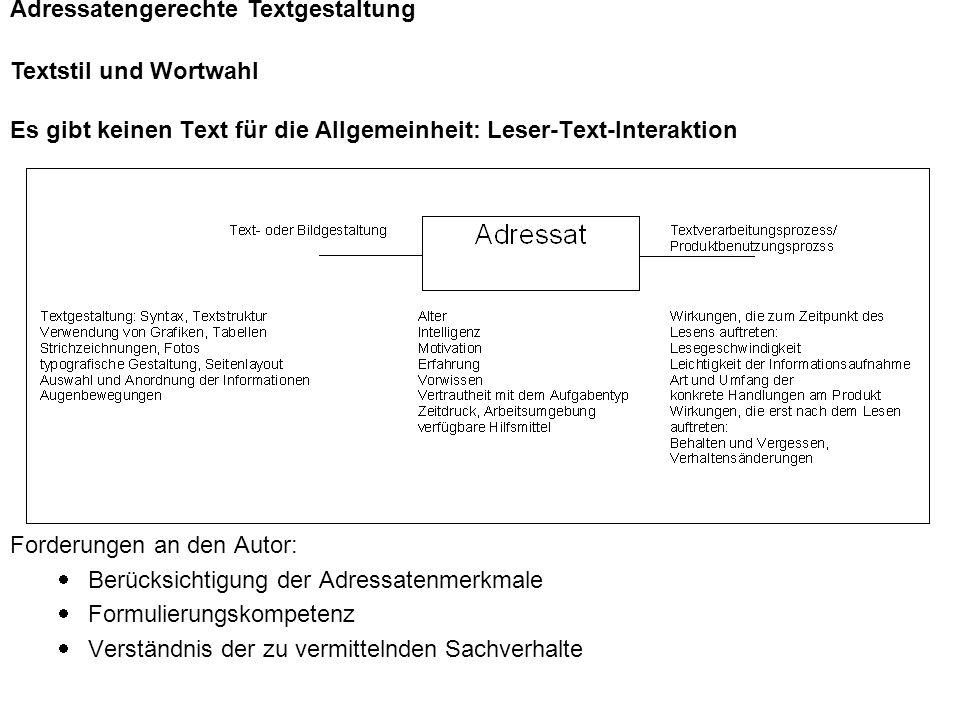 Adressatengerechte Textgestaltung Textstil und Wortwahl