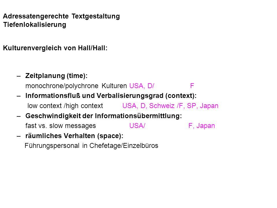 Adressatengerechte Textgestaltung Tiefenlokalisierung