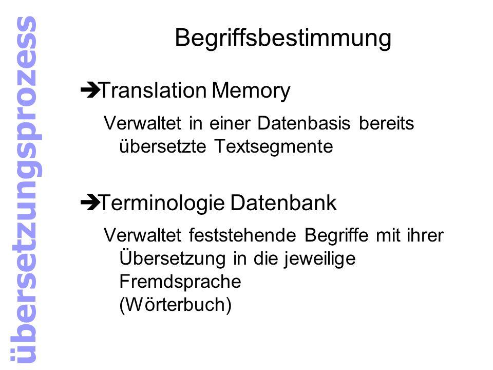übersetzungsprozess Begriffsbestimmung Translation Memory