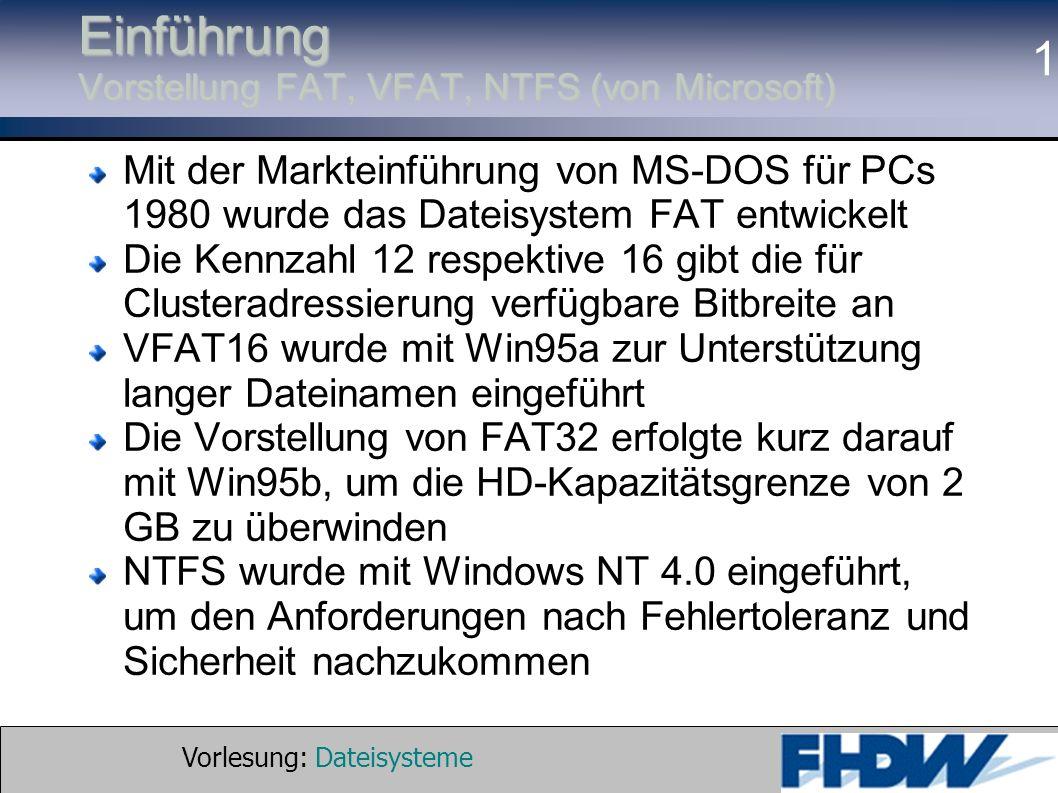 Einführung Vorstellung FAT, VFAT, NTFS (von Microsoft)