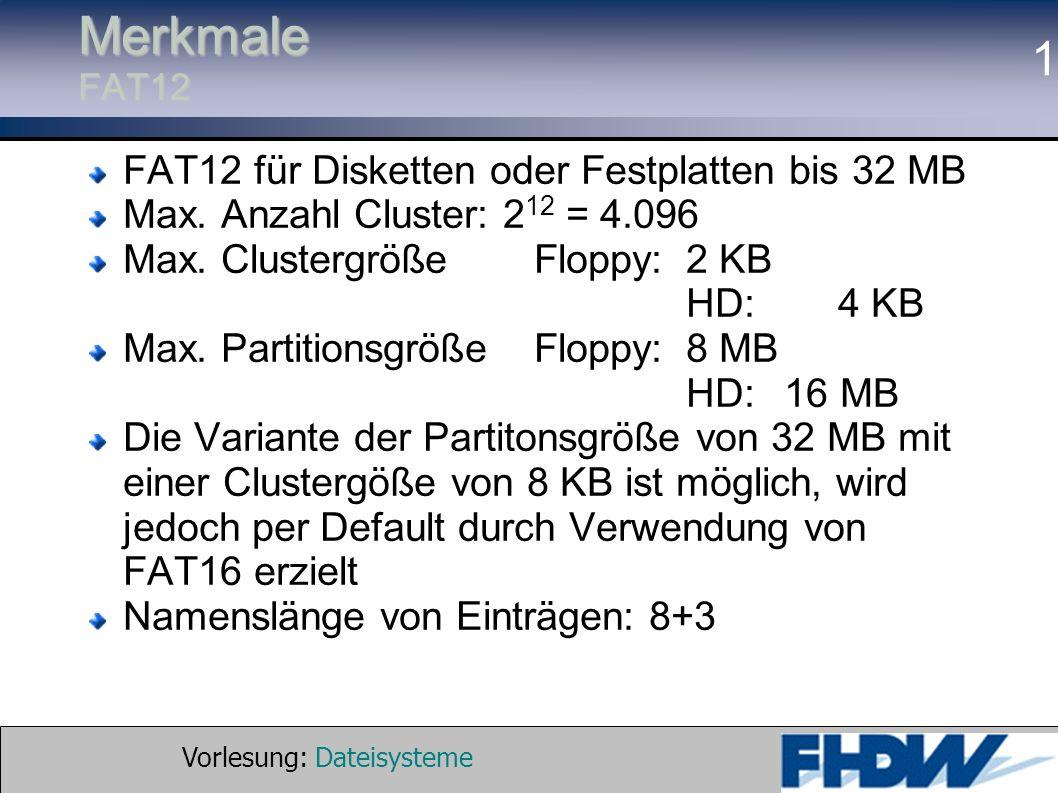 Merkmale FAT12 FAT12 für Disketten oder Festplatten bis 32 MB