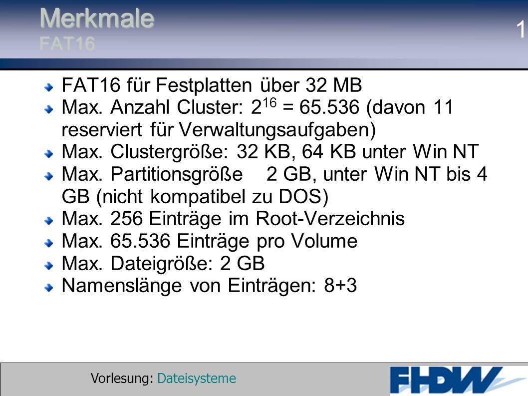 Merkmale FAT16 FAT16 für Festplatten über 32 MB