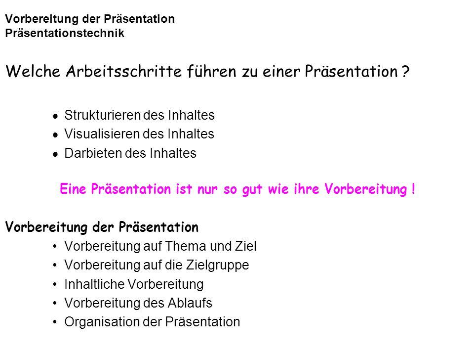 Vorbereitung der Präsentation Präsentationstechnik