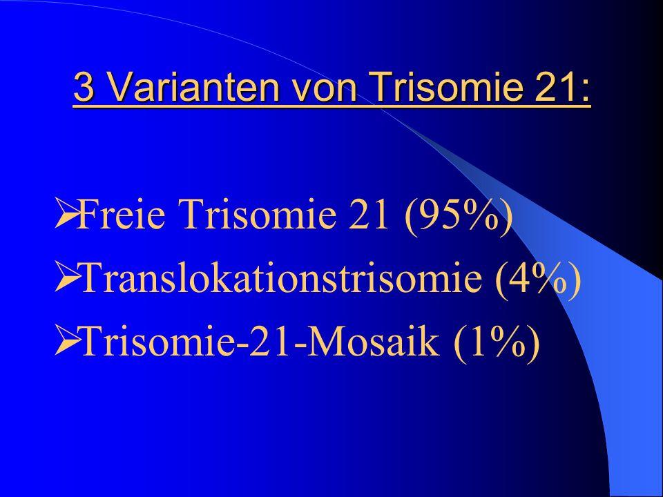 3 Varianten von Trisomie 21: