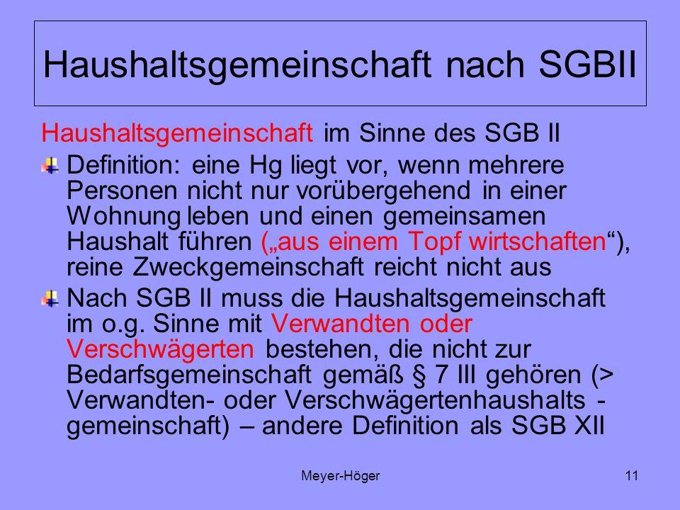 Haushaltsgemeinschaft nach SGBII