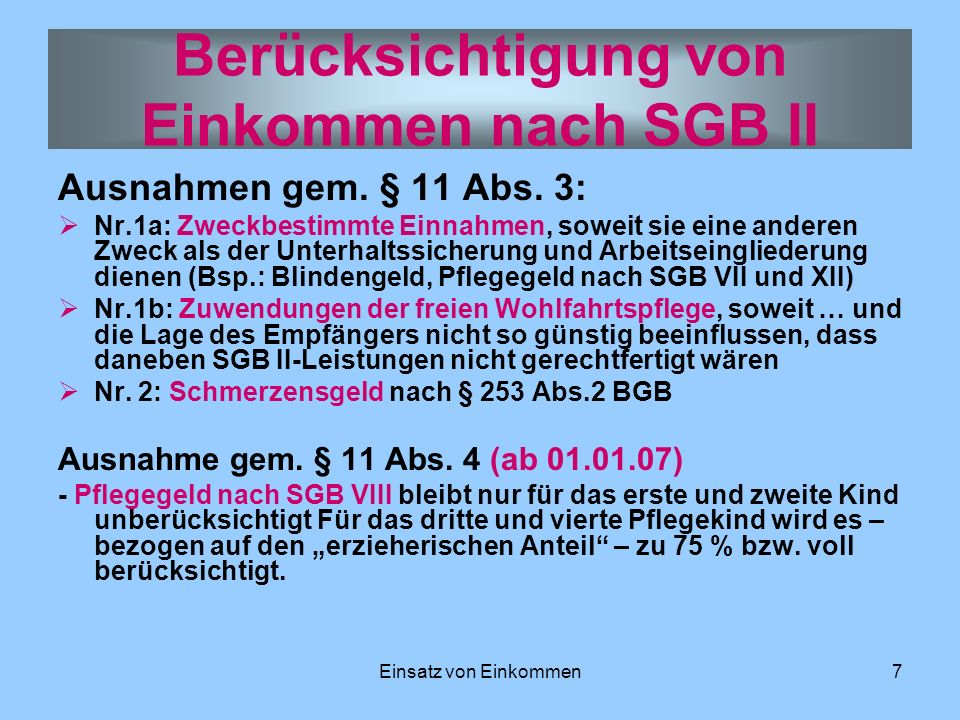 Berücksichtigung von Einkommen nach SGB II