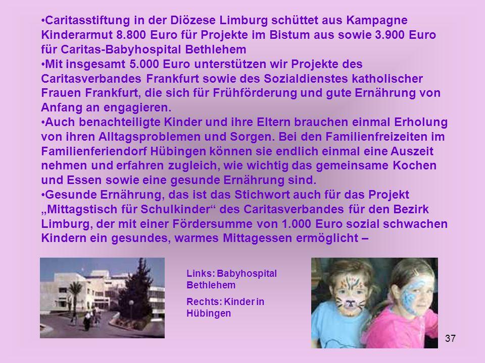 Caritasstiftung in der Diözese Limburg schüttet aus Kampagne Kinderarmut 8.800 Euro für Projekte im Bistum aus sowie 3.900 Euro für Caritas-Babyhospital Bethlehem
