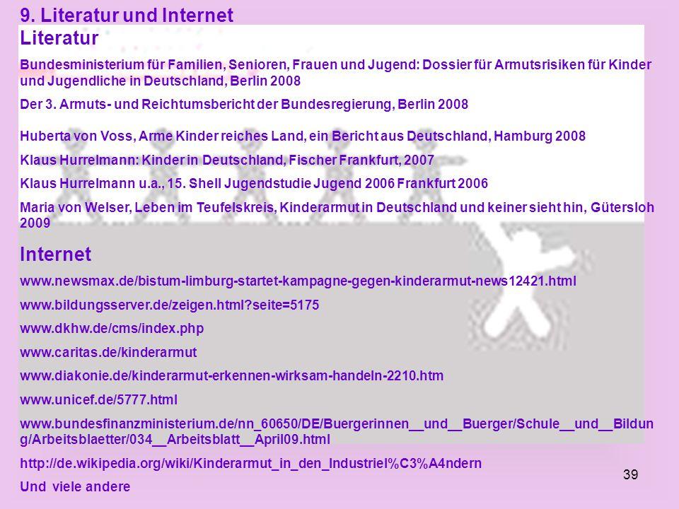 9. Literatur und Internet Literatur