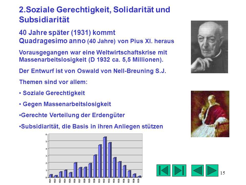 2.Soziale Gerechtigkeit, Solidarität und Subsidiarität