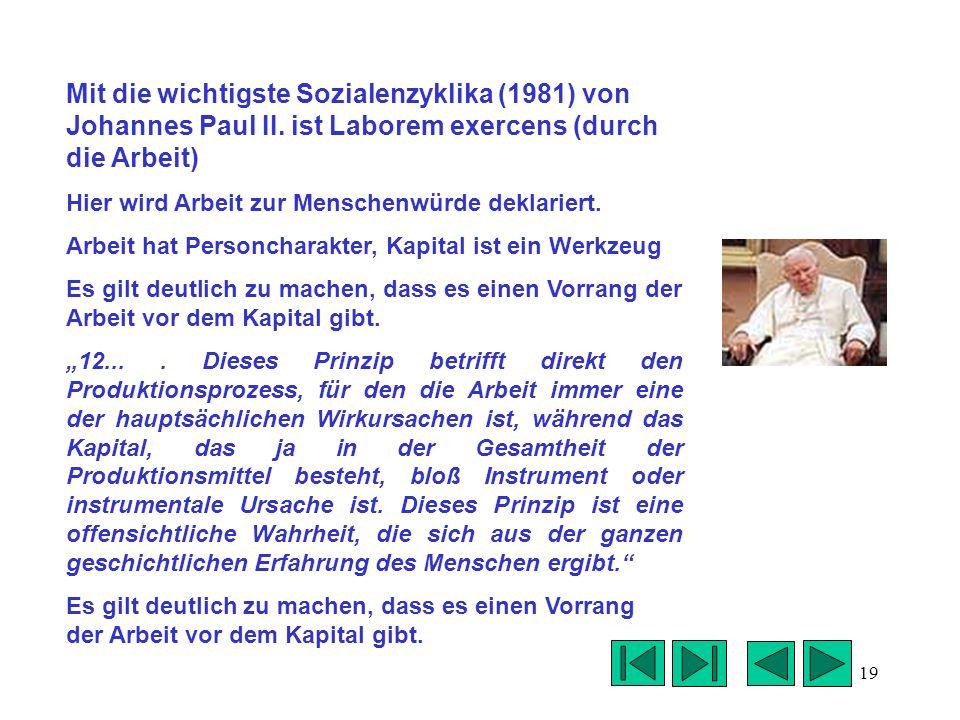 Mit die wichtigste Sozialenzyklika (1981) von Johannes Paul II