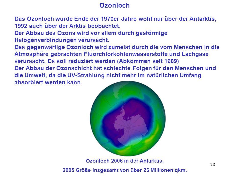 Ozonloch Das Ozonloch wurde Ende der 1970er Jahre wohl nur über der Antarktis, 1992 auch über der Arktis beobachtet.