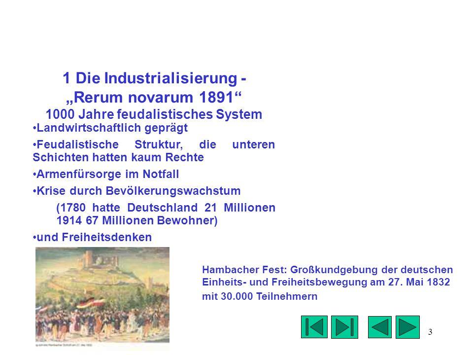"""1 Die Industrialisierung - """"Rerum novarum 1891 1000 Jahre feudalistisches System"""