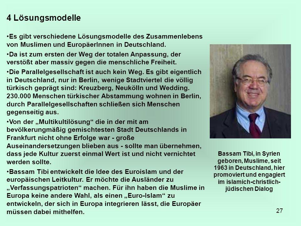 4 Lösungsmodelle Es gibt verschiedene Lösungsmodelle des Zusammenlebens von Muslimen und EuropäerInnen in Deutschland.