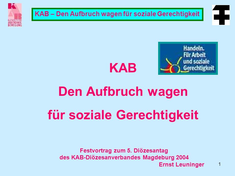 KAB Den Aufbruch wagen für soziale Gerechtigkeit