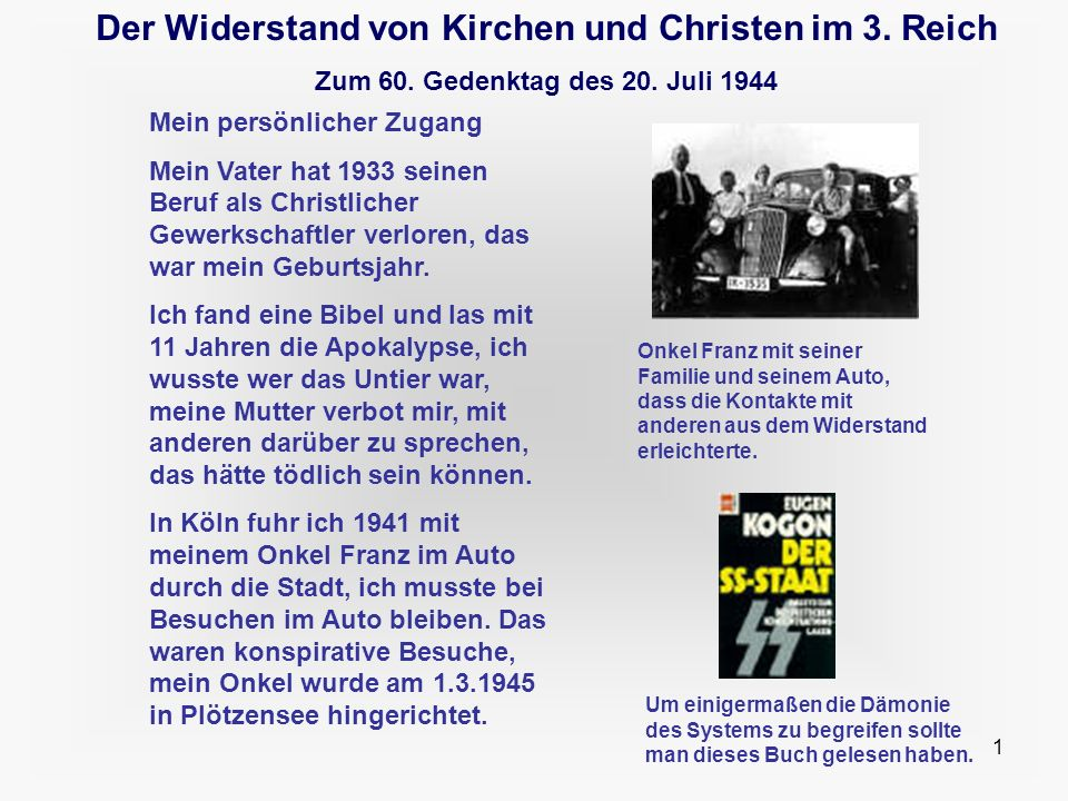 Der Widerstand von Kirchen und Christen im 3. Reich