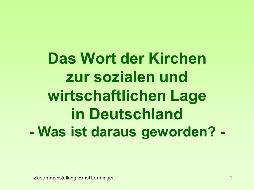 Das Wort der Kirchen zur sozialen und wirtschaftlichen Lage in Deutschland - Was ist daraus geworden -