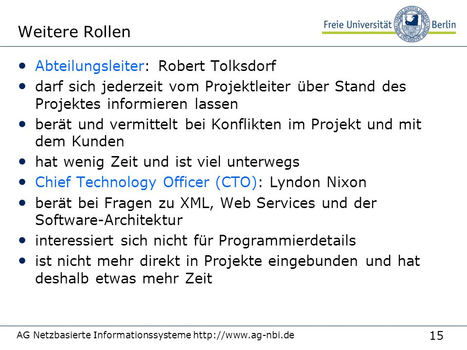 Weitere Rollen Abteilungsleiter: Robert Tolksdorf