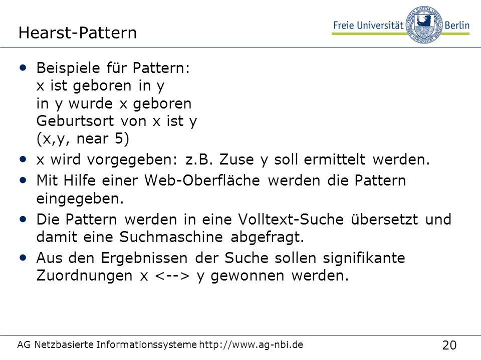 Hearst-Pattern 3/27/2017. Beispiele für Pattern: x ist geboren in y in y wurde x geboren Geburtsort von x ist y (x,y, near 5)