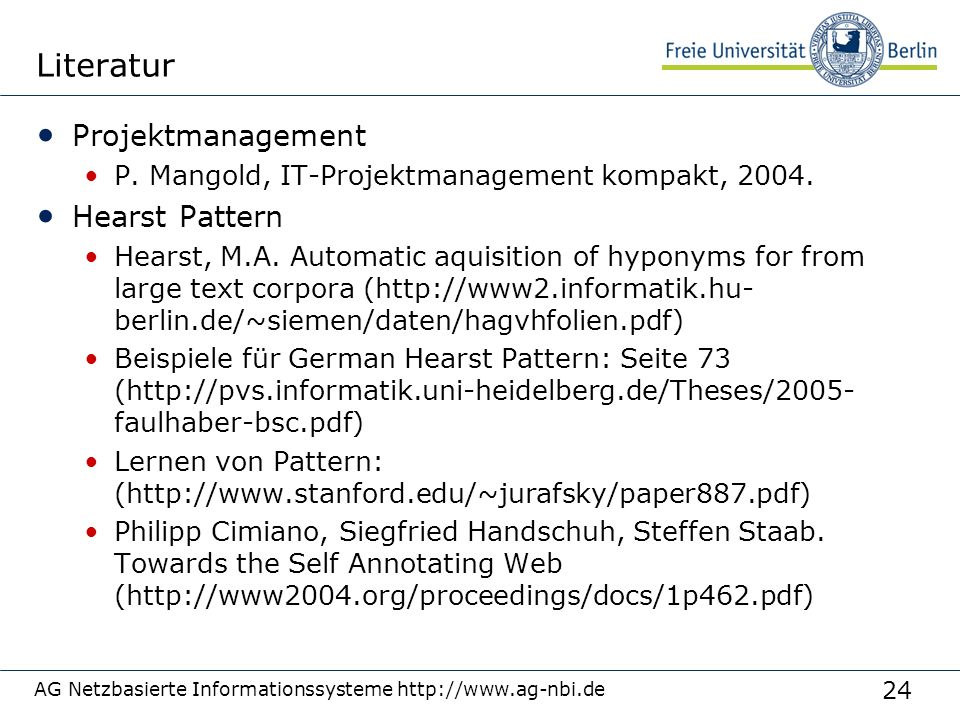 Literatur Projektmanagement Hearst Pattern