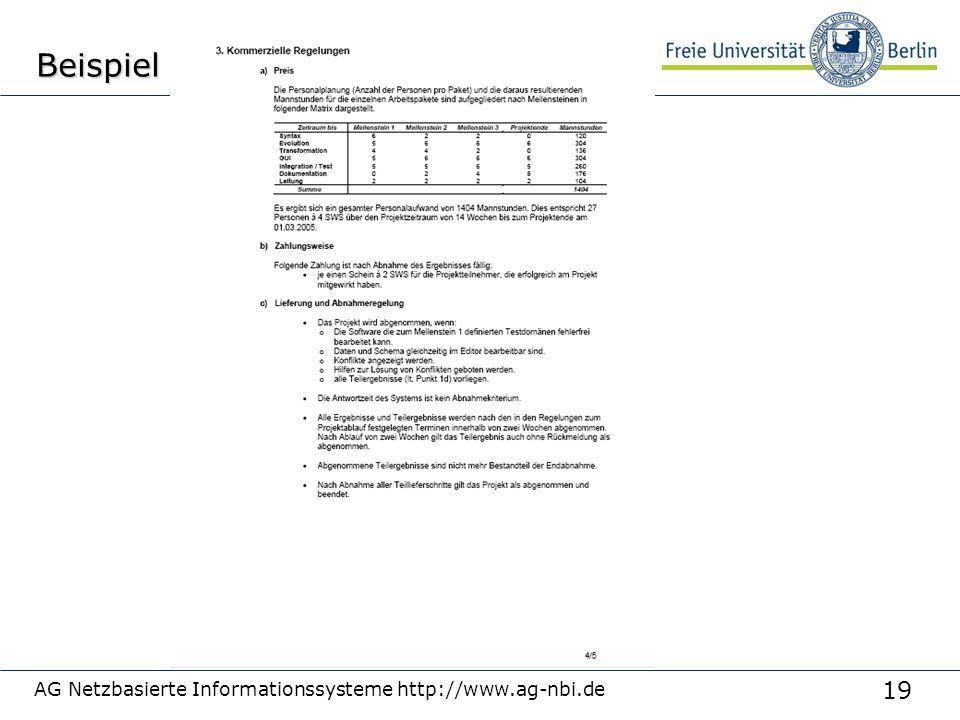 Beispiel AG Netzbasierte Informationssysteme http://www.ag-nbi.de